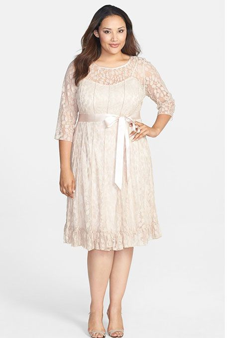 f171e2b2dfbb Brides.com: 21 Stylish, Short Plus-Size Wedding Dresses Pintuck floral lace  dress, $118, Jessica Howard available at NordstromPhoto: Courtesy of  Nordstrom