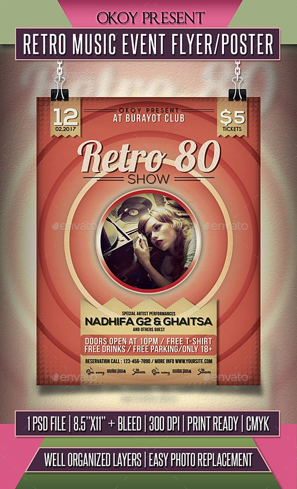 Retro Music Event Flyer \/ Poster Event flyers, Retro and Flyer - retro flyer templates