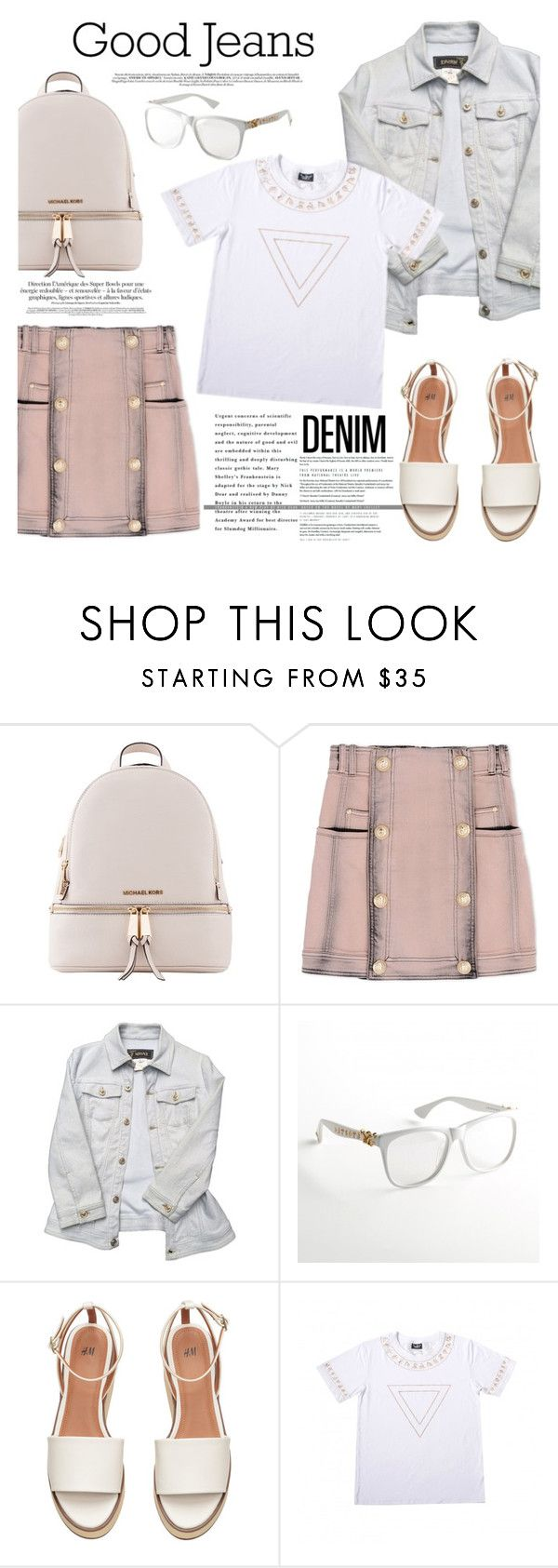 """Double Down on Denim"" by wigicollection ❤ liked on Polyvore featuring Michael Kors, Balmain, Versace, Denimondenim, contestentry, wigicollection, wigier and wigimoda"