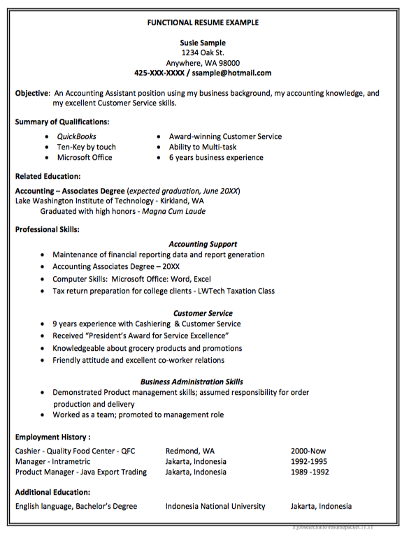 example of functional accounting resume http exampleresumecv
