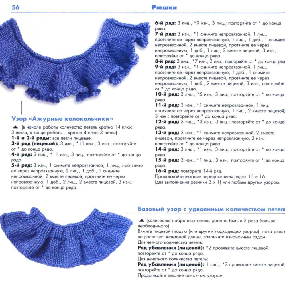 как вязать рюши спицами 20 вариантов узоры вязание детское