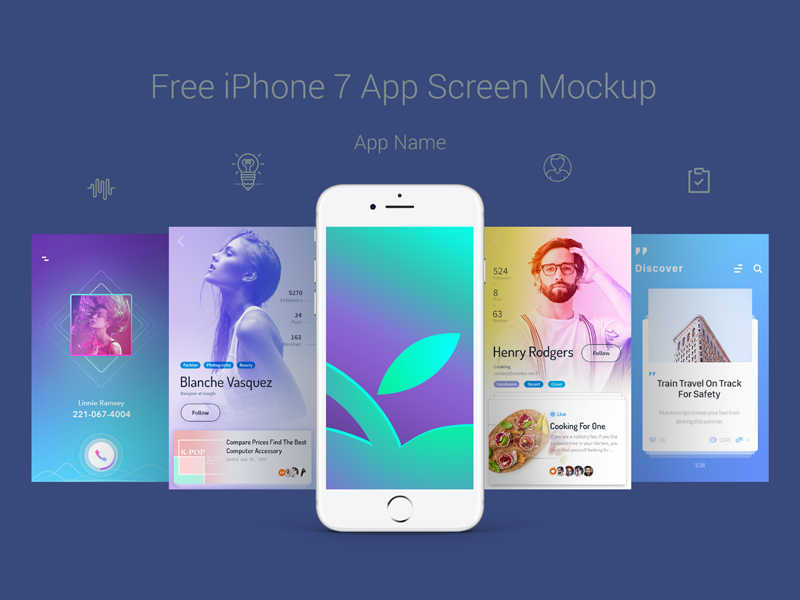 Free Premium iPhone 7 App Screen Mockup PSD Free iphone