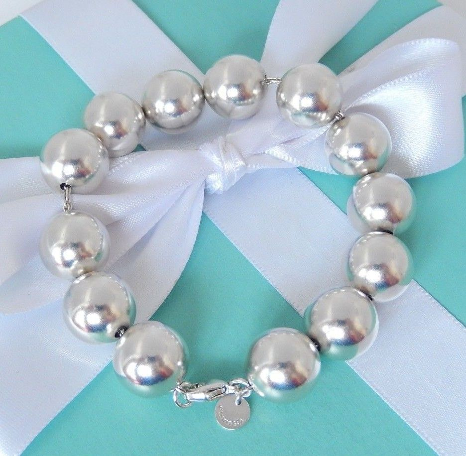 852ef39200a00 Tiffany & Co Silver 14mm Large Bead Ball Bracelet with Box ...