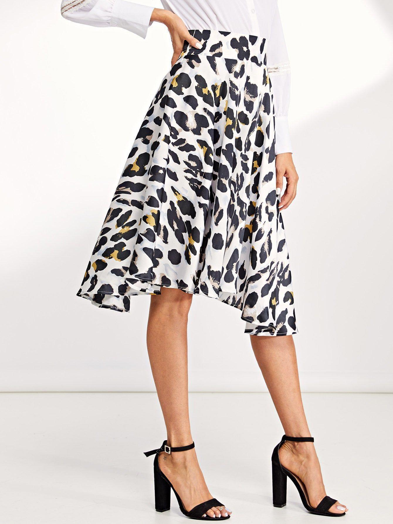 7e7758ea568fe3 Wide Waist Leopard Print Skirt Waist#Wide#Leopard Leopard Print Skirt, Women's  Skirts
