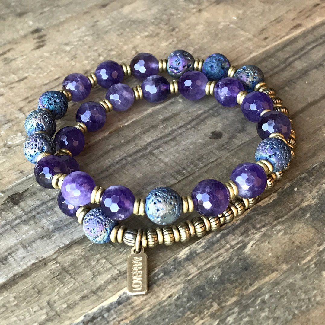 Personalized amethyst and lava bead essential oil diffuser bracelet