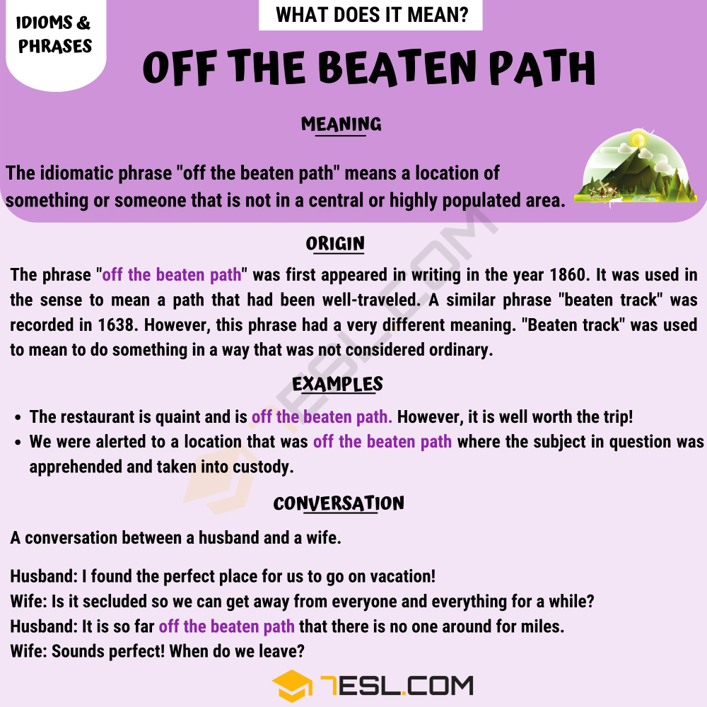 Off The Beaten Path the Definition of this Popular Idiomatic ...
