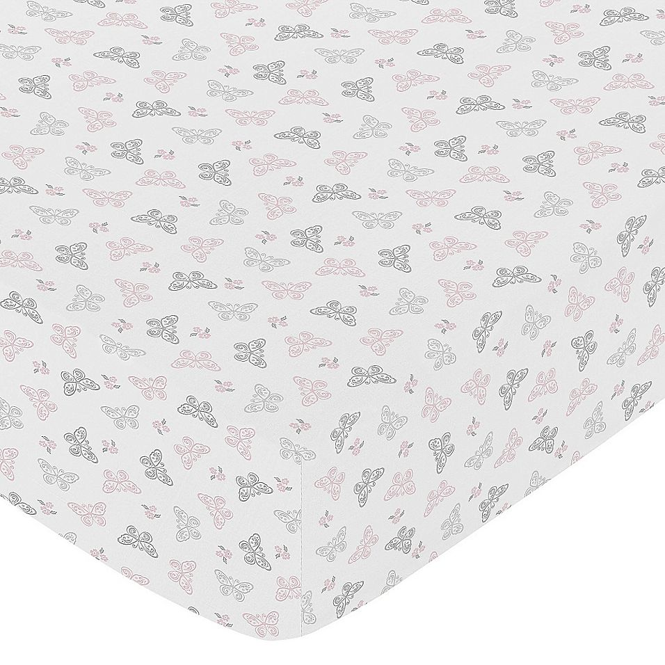 Sweet Jojo Designs Alexa Butterfly Fitted Crib Sheet In Pink/grey
