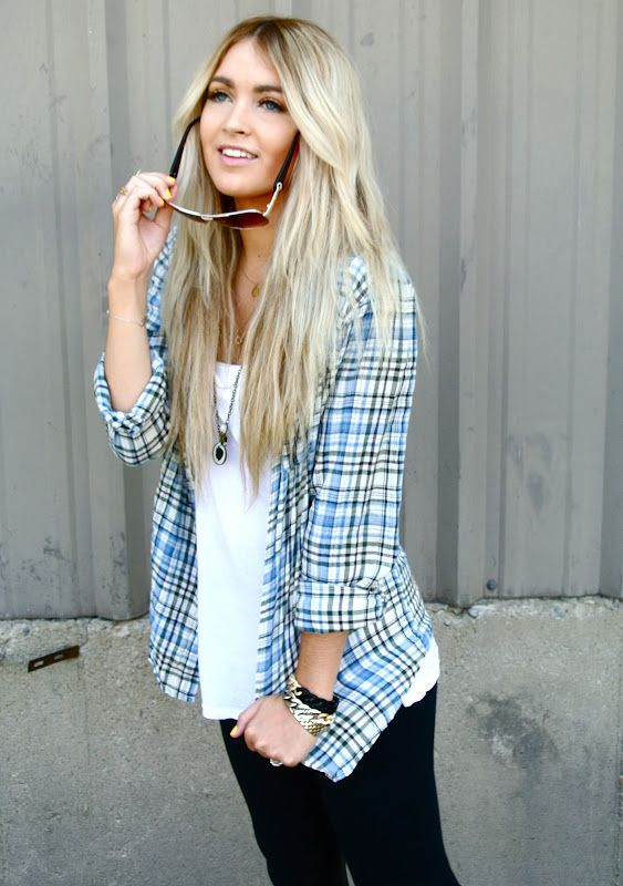 plaid. necklace. white tee.