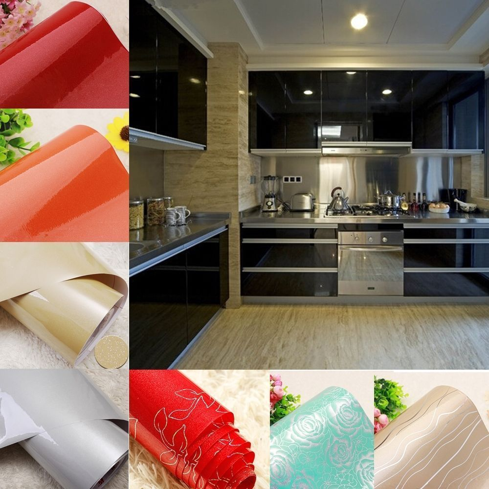 Gloss Kitchen Cupboard Door Cover Sticker Self Adhesive Vinyl Contact Paper Diy Kitchen Wall Stickers Sticker Decor Contact Paper