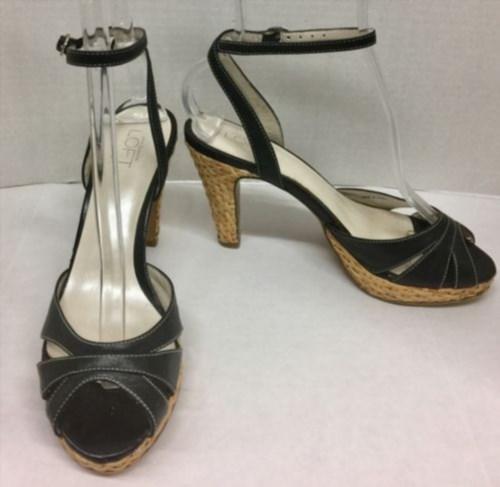 17.10$  Buy now - http://vihwf.justgood.pw/vig/item.php?t=2pv0a8y24248 - ANN TAYLOR LOFT 6.5 Blk Strappy High Heels Women's Sandals w/Basket Weave Heel