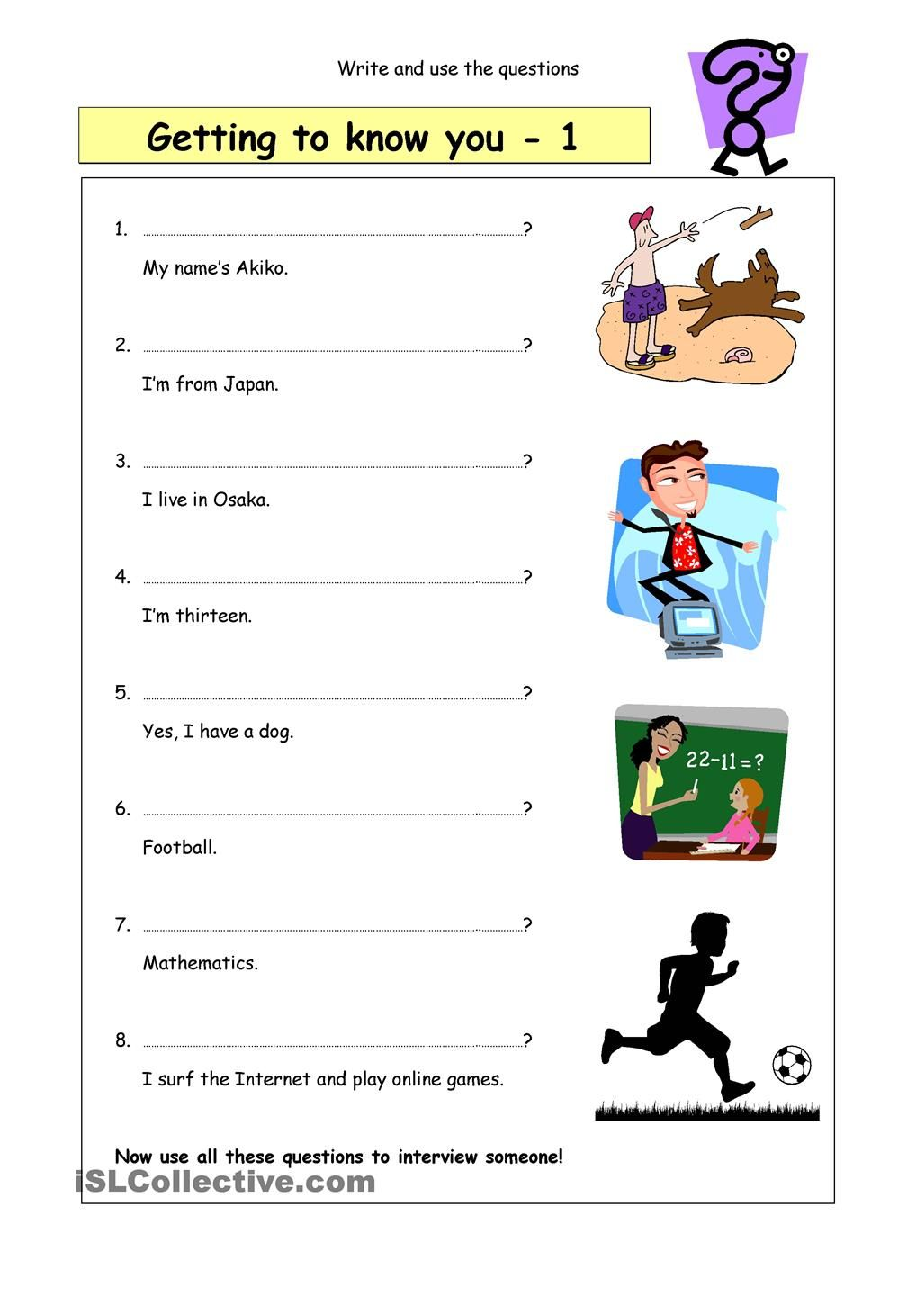Write The Questions Getting To Know You 1 This Or That Questions Esl Teaching Resources Getting To Know You