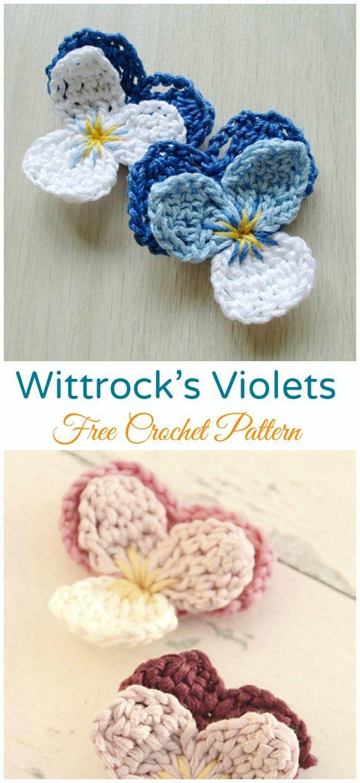 Crochet Pansy Flower Free Patterns