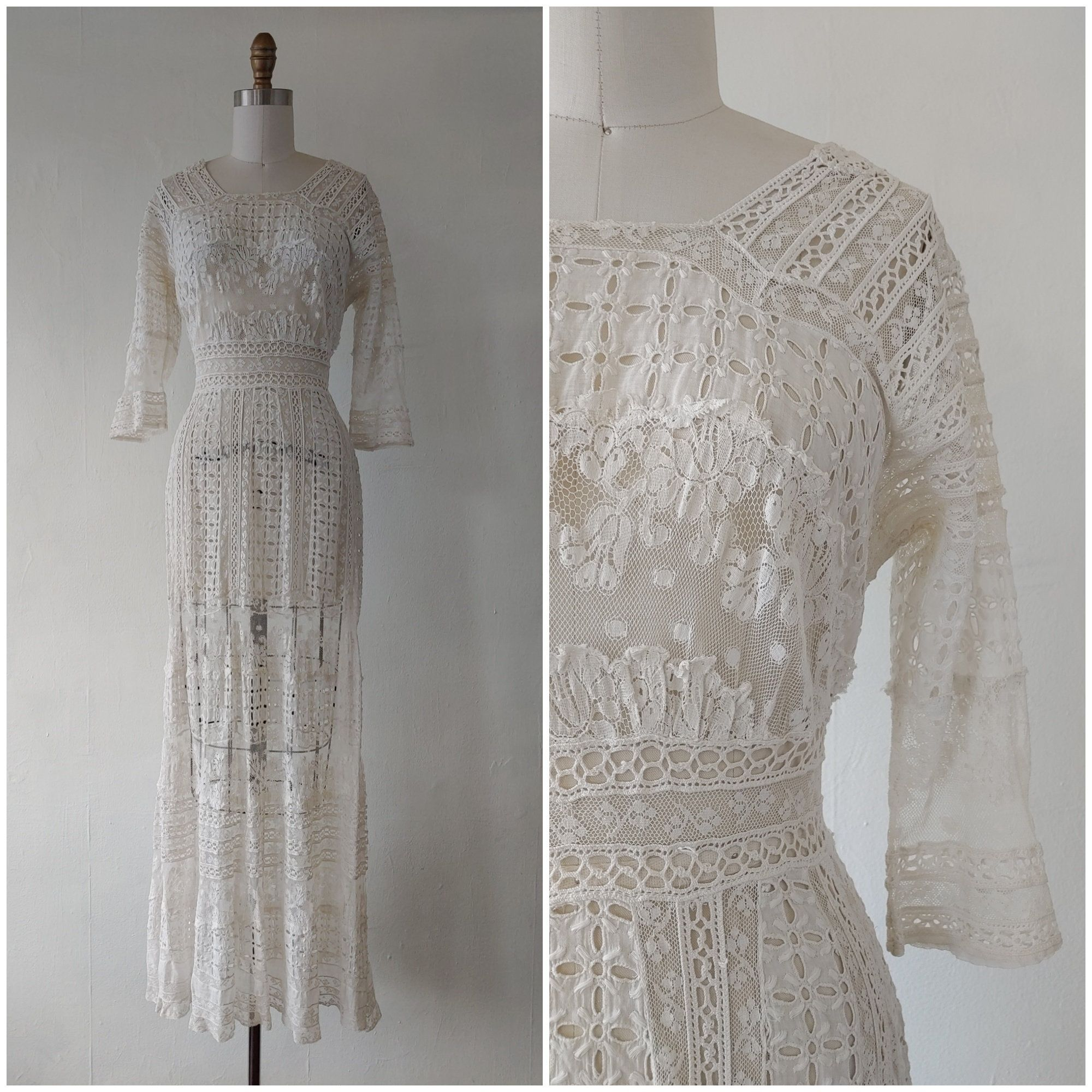 1910s White Lace Dress Antique Edwardian 1910s White Eyelet Etsy Lace White Dress White Lace Wedding Dress Lace Wedding Dress Vintage [ 2000 x 2000 Pixel ]