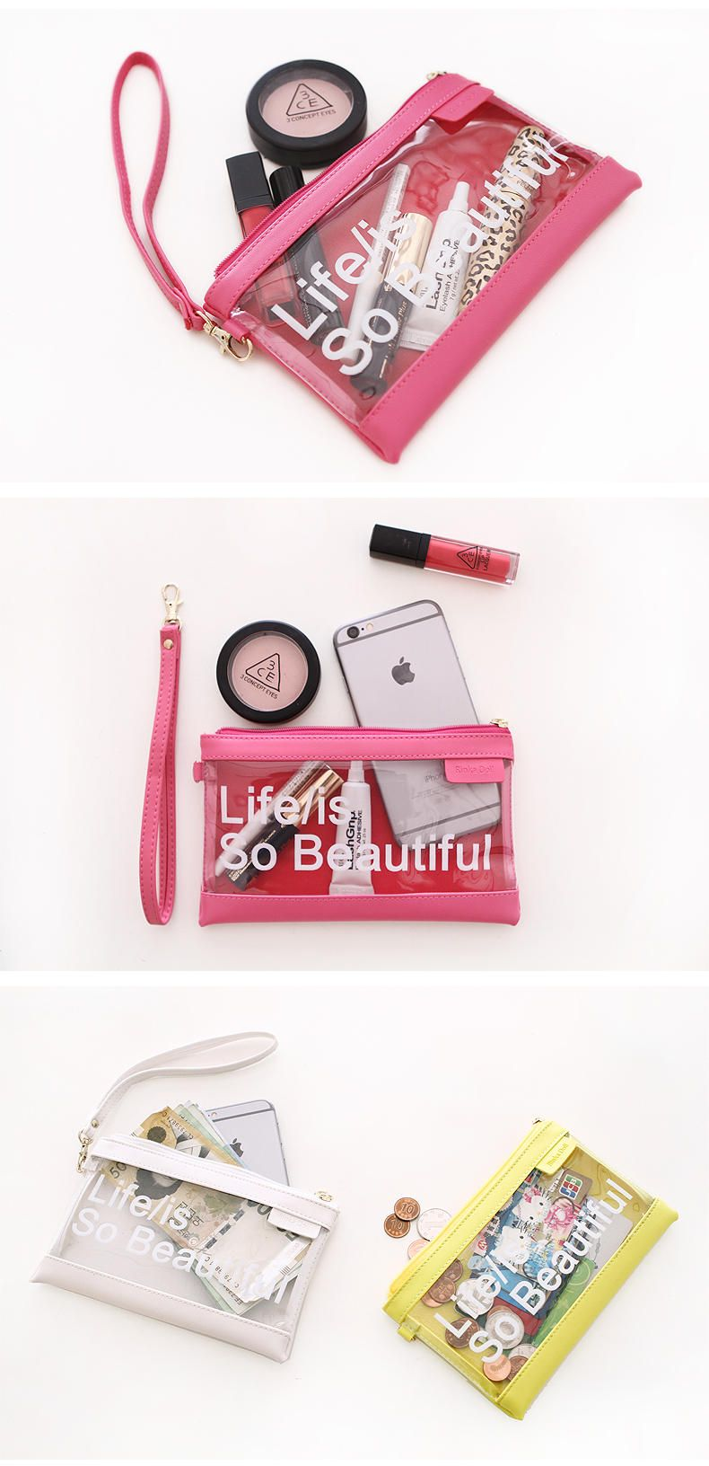 Lettering Transparent Pouch - Rinka Doll | YESSTYLE