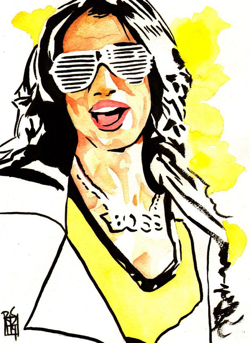 sasha banks ink and watercolor on 9 x 12 watercolor paper rh pinterest com Food Clip Art Monster Clip Art