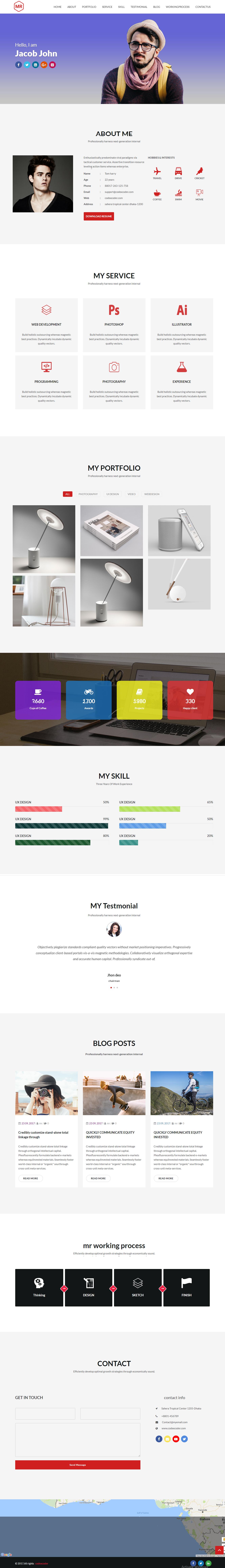 Mr Free CV & Resume One Page WordPress Theme