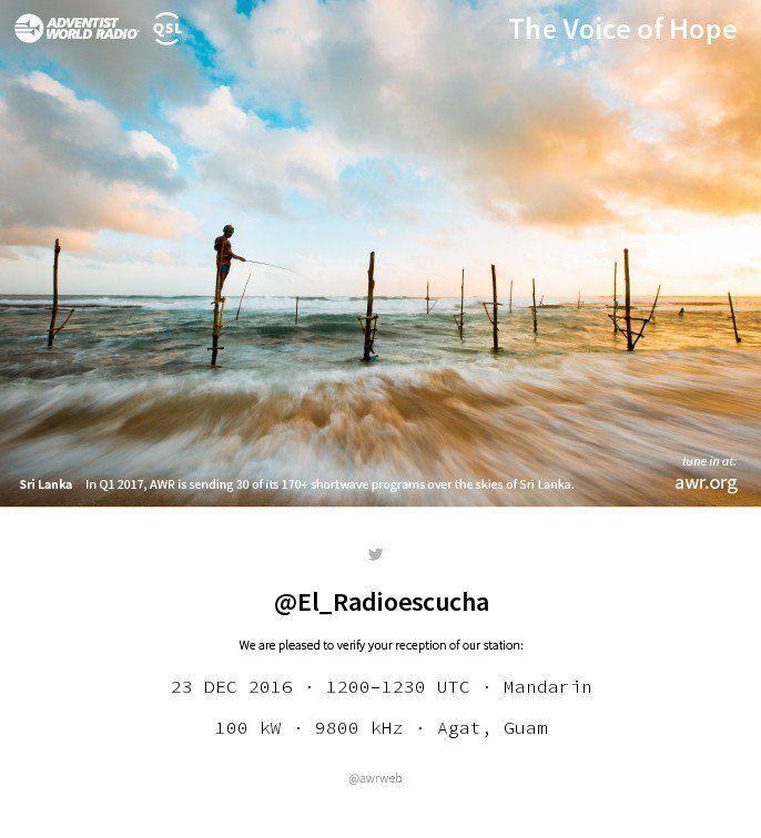 Por primera vez y sin salir de mi asombro he recibido una E-QSL o verificación electrónica vía Twitter de la emisora Religiosa AWR – KSDA desde la Isla de Guam en una escucha de su programa…