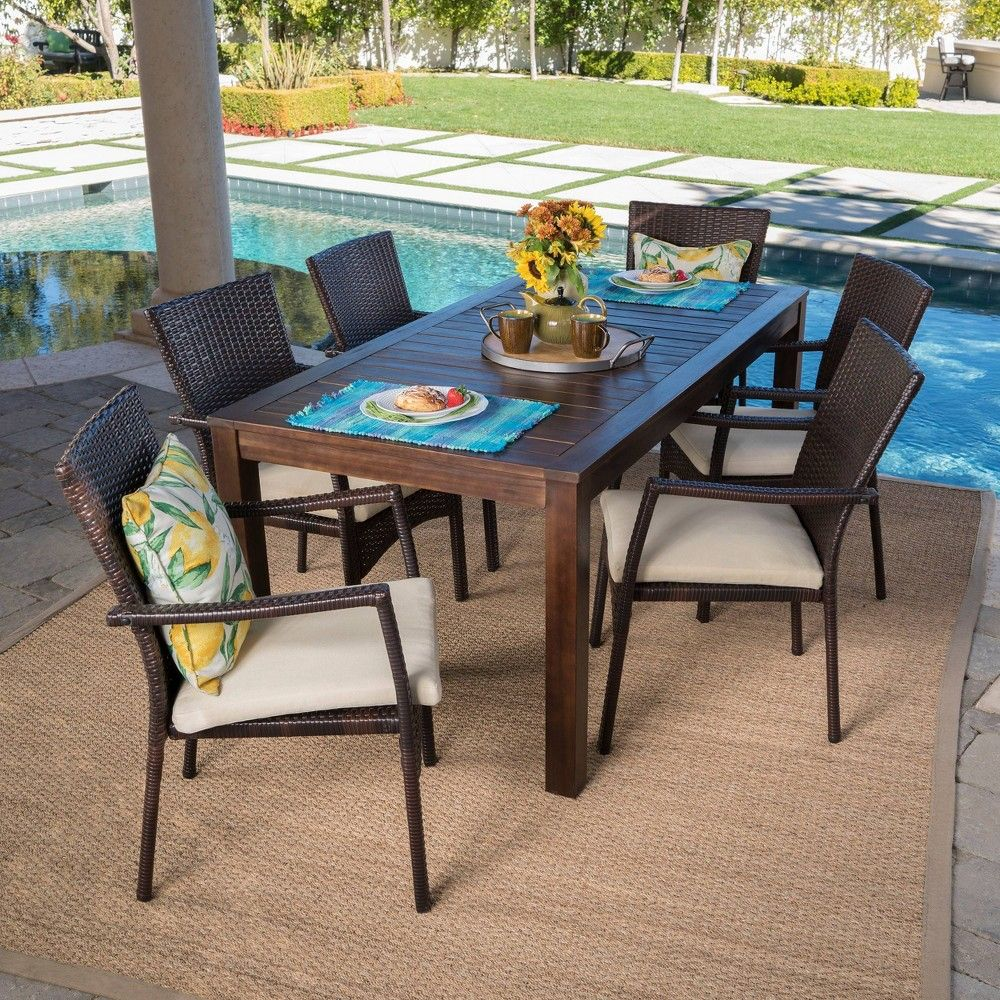 Geelong 7pc Acacia Wood Wicker Patio Dining Set Brown Christopher Knight Home With Images Wicker Dining Chairs Patio Dining Furniture Outdoor Dining Set