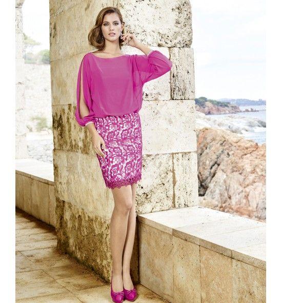Vestido de fiesta corto blusa de gasa y falda guipur | Vestidos de ...