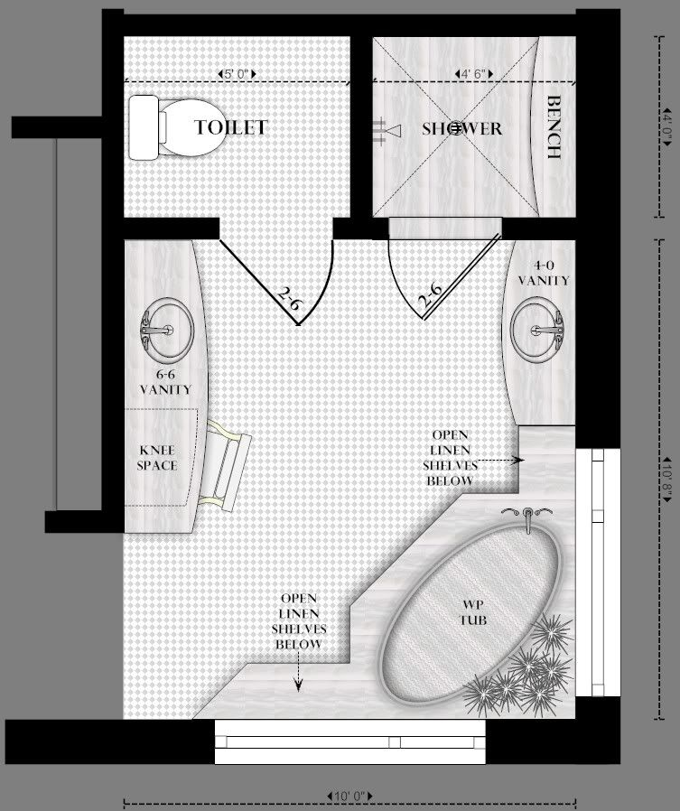 master bathroom floor plans realize that ours has the hallway on an outside wall - Master Bathroom Design Plans