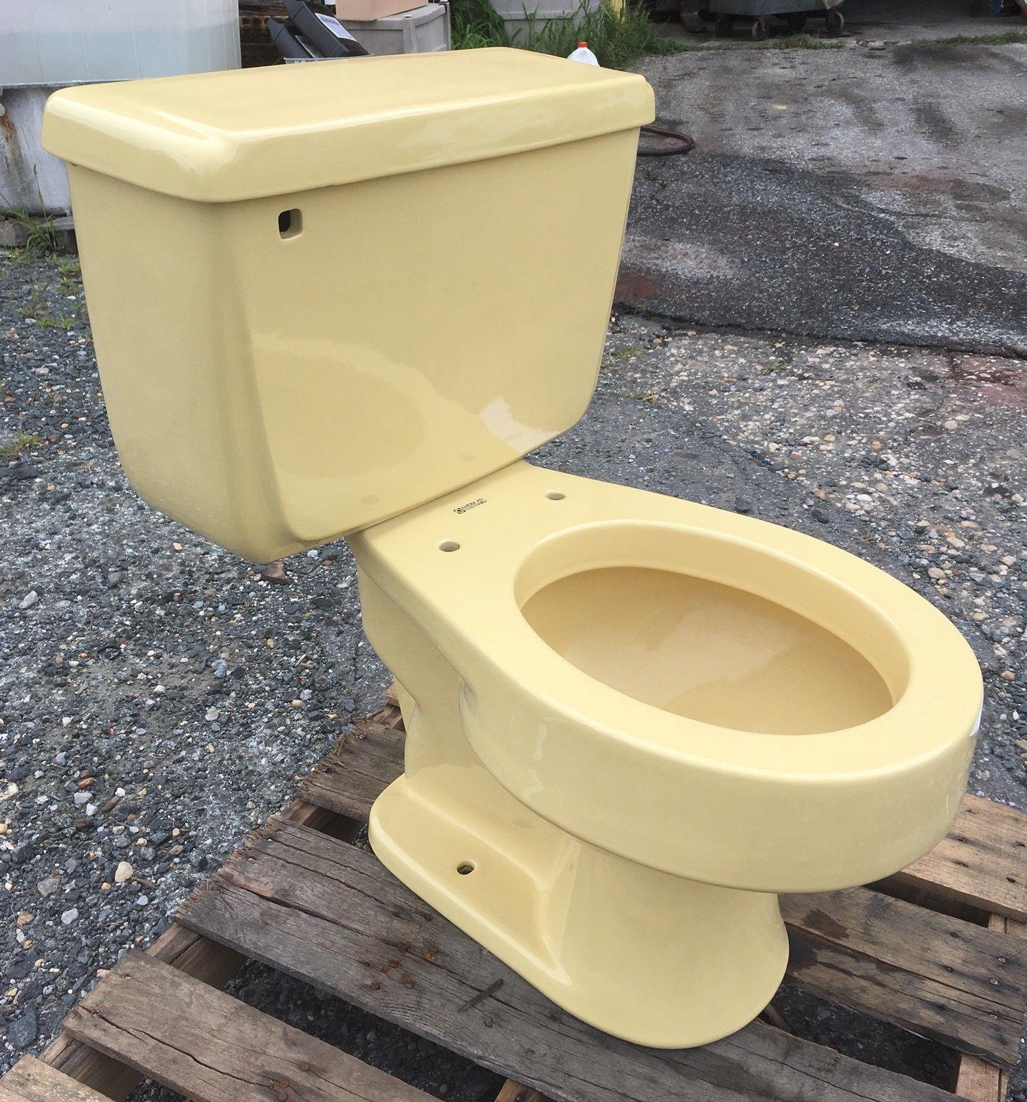 Vintage 1974 Harvest Gold American Standard Cadet Toilet Complete