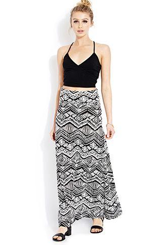 302075375 Tribal Print Maxi Skirt | FOREVER 21 - 2000127128 | Love the look ...