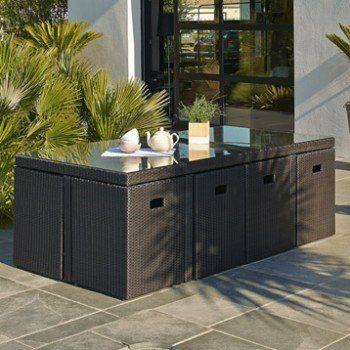 Salon De Jardin Encastrable Resine Tressee Noir 1 Table 8