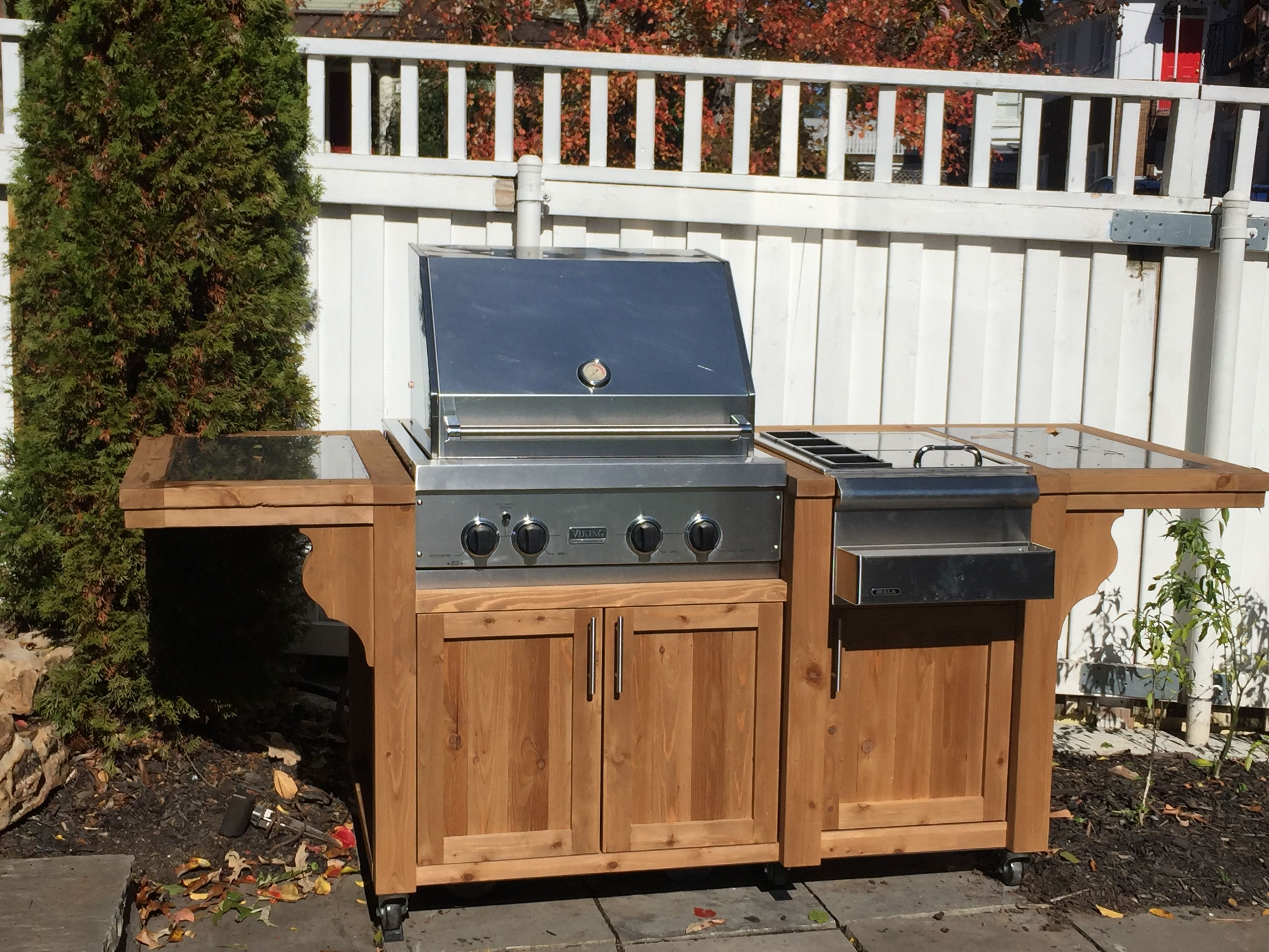 Roll In Gas Grill Cart Cabinet Dress Up Your Gas Grill Cart And Add Some Serving Space Grill Table Grill Island Outdoor Kitchen Design