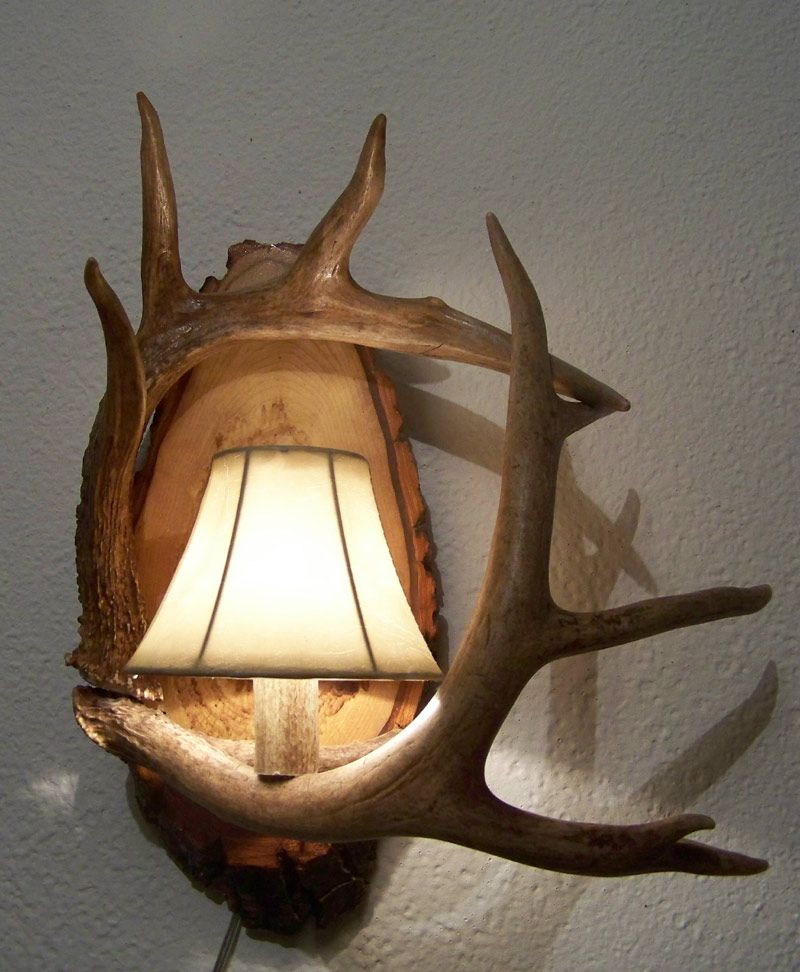 Two Antler Wall Sconce Wildlife And Rustic Decor