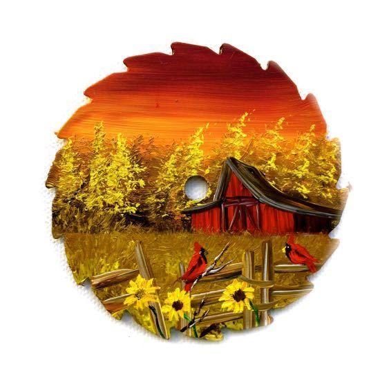 Fall Sunflowers Wallpaper Hand Painted Miniature Round Saw Magnet Sunset Cardinals