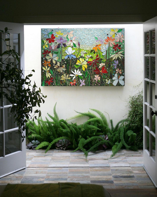 Mosaic Wall Art Stained Gl Decor Fl Garden Indoor