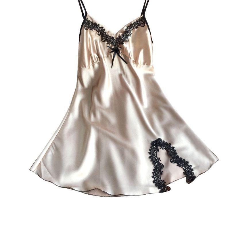 Ladies Sexy Silk Satin Night Dress Sleeveless Nighties V-neck Nightgown  Plus Size Nightdress Lace Sleepwear Nightwear For Women 92807124a
