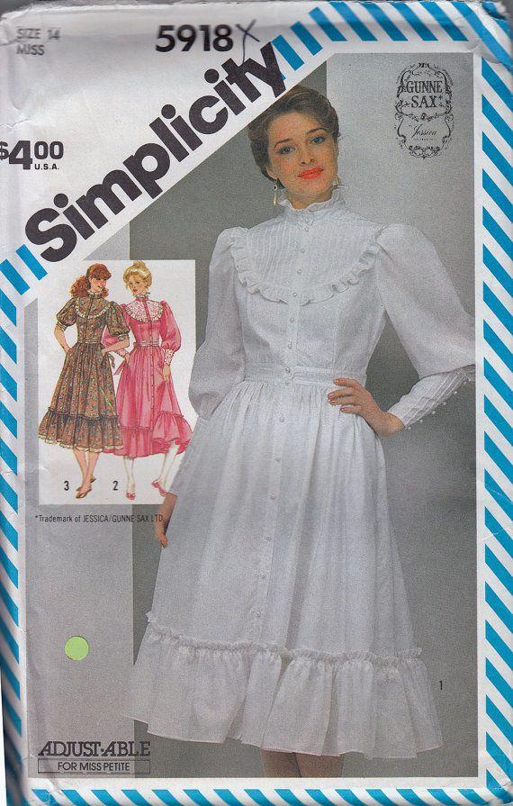 80s Gunne Sax Dress Sewing Pattern High Collar Prairie Dress ...
