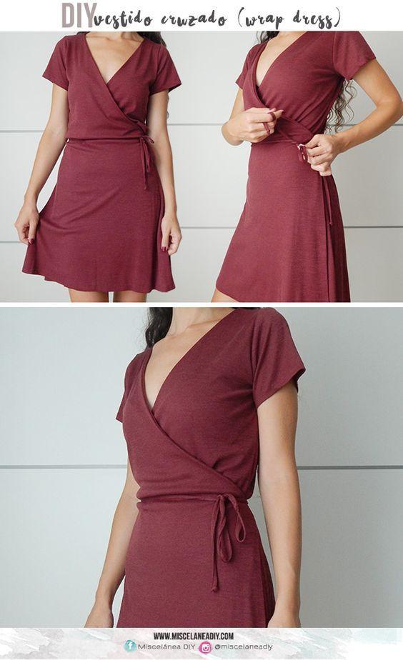 Diy Sewing Vestido Cruzado Tipo Bata Wrap Dress Paterns