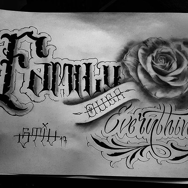 Family Over Everything Sketch Lettering Tattoo