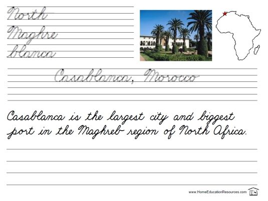 free printable worksheet with cursive handwriting practice learn about casablanca morocco in. Black Bedroom Furniture Sets. Home Design Ideas