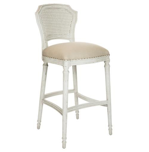 Camilla French Country Milk White Linen Barstool - Set of 2