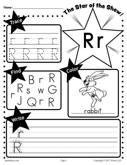 Free Letter R Worksheet Tracing Coloring Writing More Letter