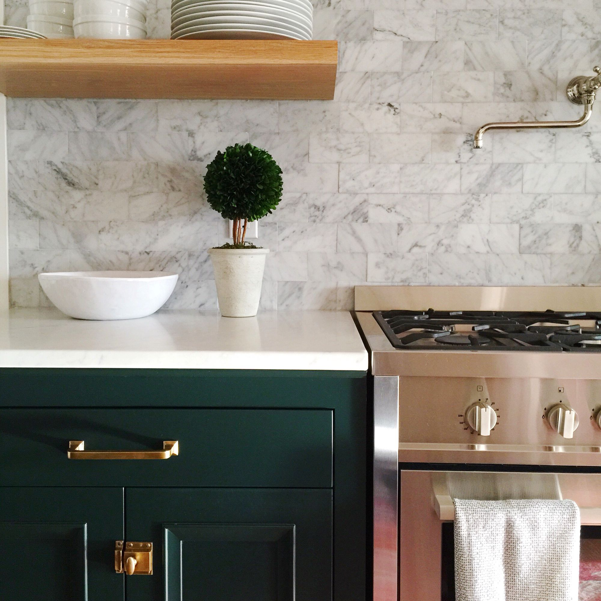 The Misfit House Renovation Black Forest Green Cabinets Benjamin Moore Mission Pulls And Oval Latches Rejuvenation Marble Subway Countertops