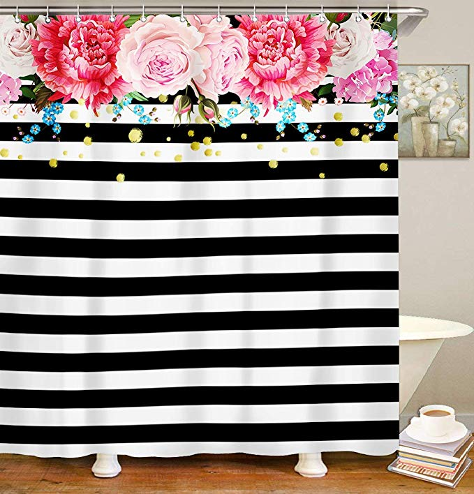Livilan Floral Fabric Shower Curtain Set With 12 Hooks Black And White Floral Shower Curtains Shower Curtain Curtains