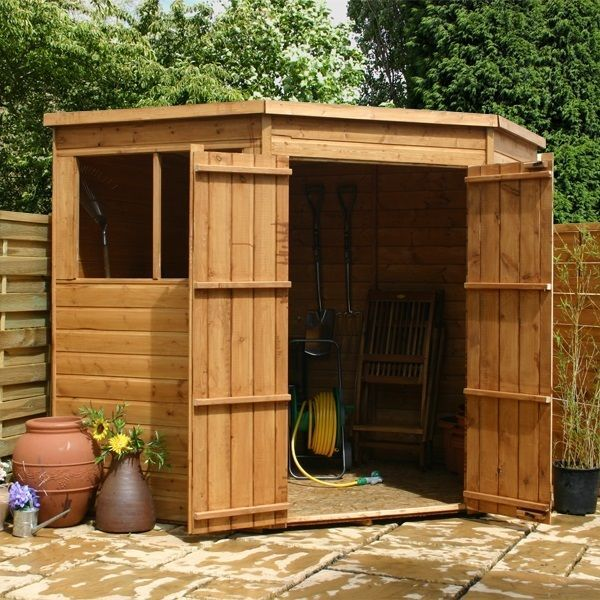 7x7 Wooden Shiplap Corner Garden Shed Windows Double Door Pent Roof 7ft 7ft Corner Sheds Garden Storage Shed Building A Shed
