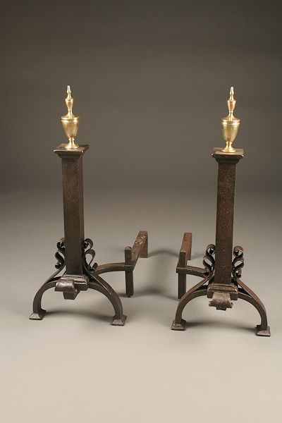 Pair Of 19th Century French Cast Iron Andirons With Brass Finial Cast Iron Victorian Fireplace Fireplace Accessories