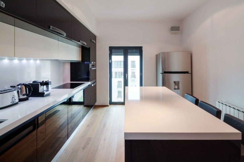 Extraordinary sleek apartment kitchen design white oak for Sleek modern kitchen cabinets