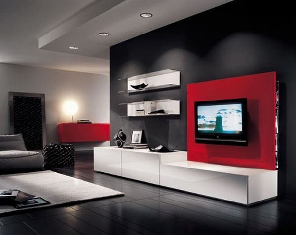 Modern Living Room Red And Black white black bedroom wall units with red contemporary | inspiring
