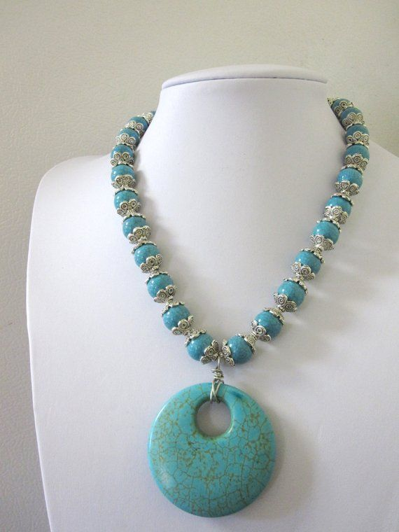 Photo of Items similar to Turquoise Blue Silver Necklace Western Jewelry Buffalo Stone on Etsy