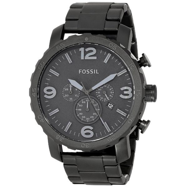 Fossil Men's JR1401 Nate Black Stainless Steel Watch - Overstock Shopping - Big Discounts on Fossil Fossil Men's Watches