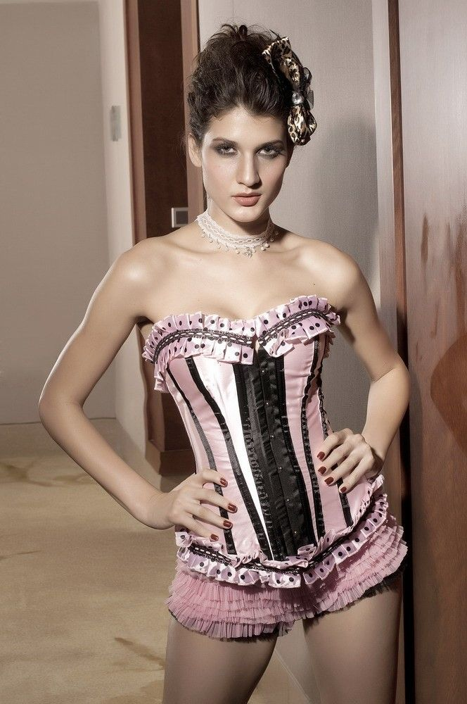67e94011e Blushing Doll - Light Pink Satin Corset with Black Stripes and Polka Dot  Ruffle Trim