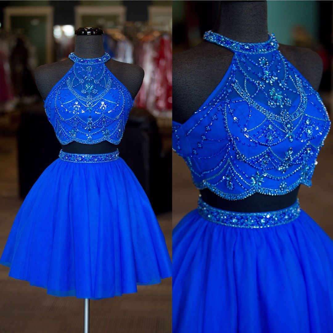 Lovely crystals beaded piece homecoming dress o neck