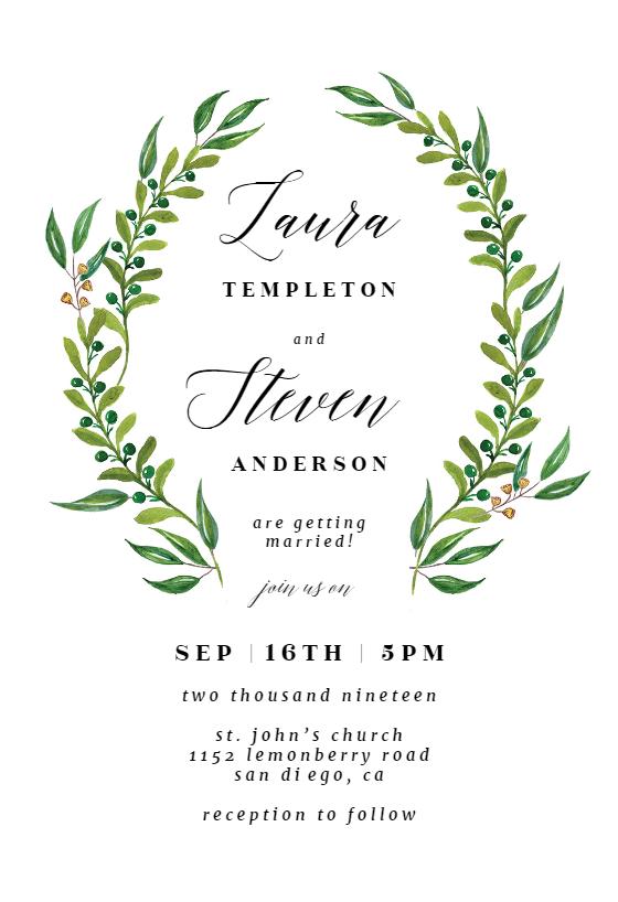 Blush Wedding Invite Set INSTANT DOWNLOAD Leaves Wedding Invite Editable PDF Rush Order Green Wedding Invite Botanical Rustic Invite
