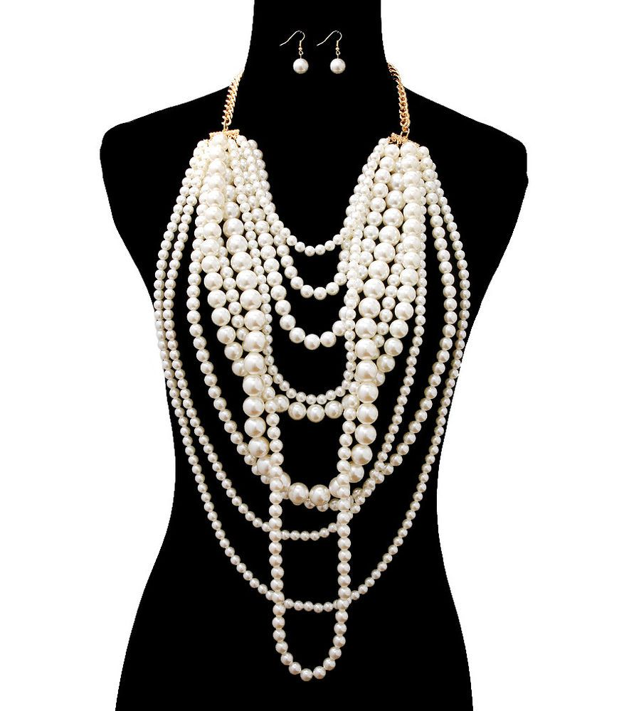 26bca53c8 Gold Chain Multi Layer Pearl Necklace Set 10 Layer Pearl Earrings Super  Long #WiseJewels